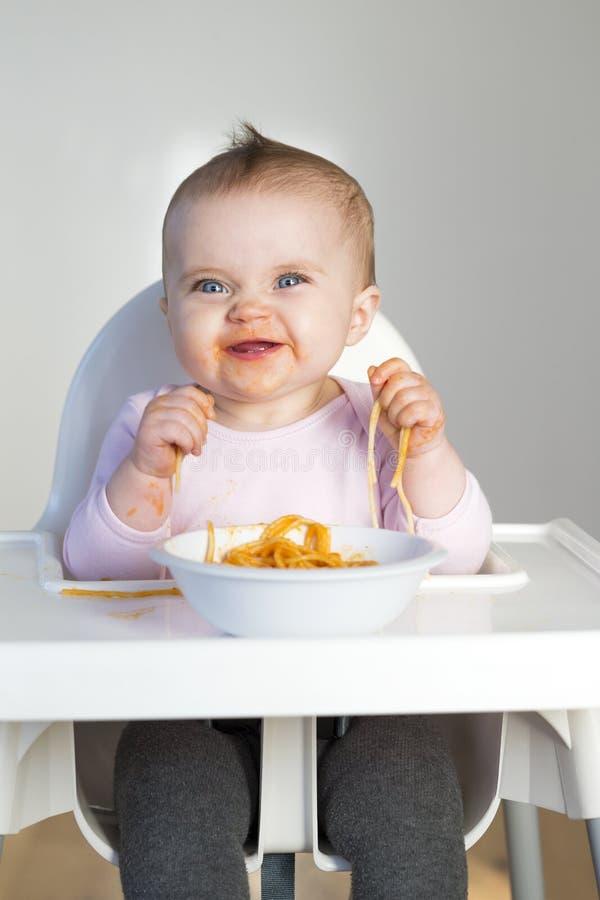 Spagetti behandla som ett barn royaltyfri bild
