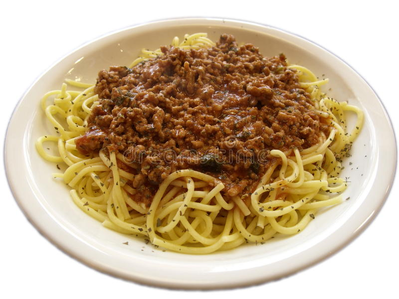 Spagetti bolognese. On the plate royalty free stock photo
