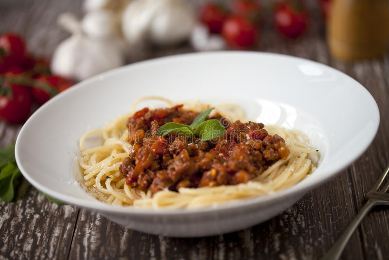 Spagetti bolognese arkivfoton