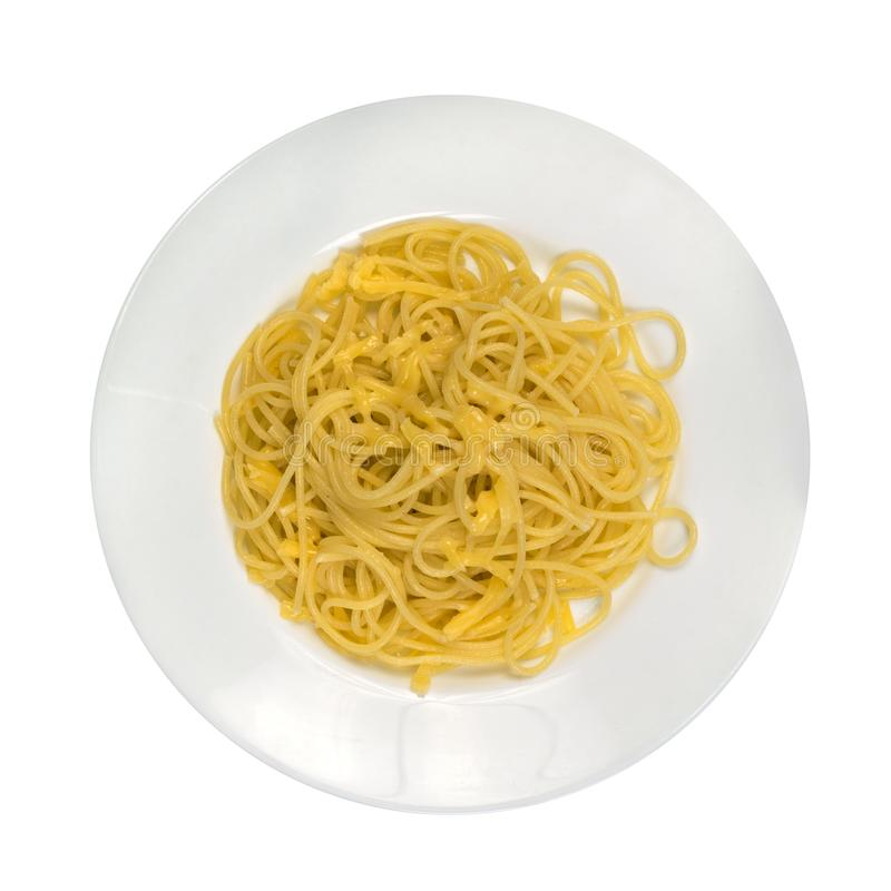 Spagetti with Cheese. Hot Homemade Spagetti with Cheese Isolated. The photo from above royalty free stock photo