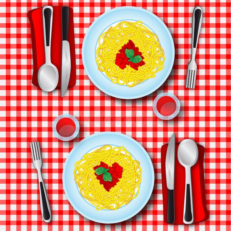spagetti för förälskelse s royaltyfri illustrationer
