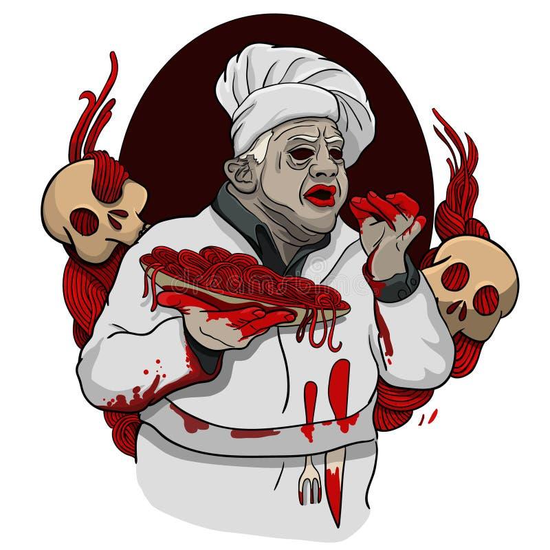 Spagetti från levande dödblod royaltyfri illustrationer