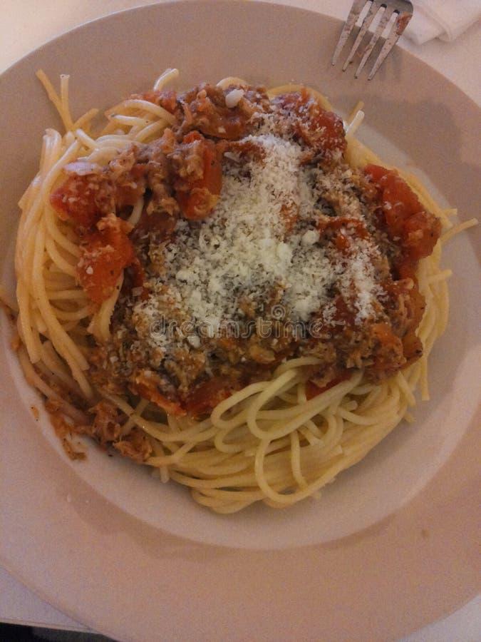 Spagetti med ost för italienare för tonfiskfisk royaltyfri bild