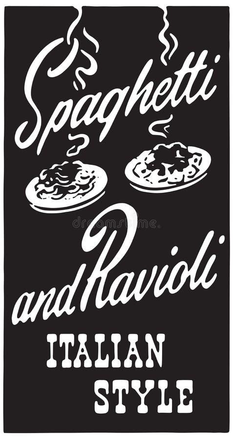 Spagetti och ravioli 2 stock illustrationer