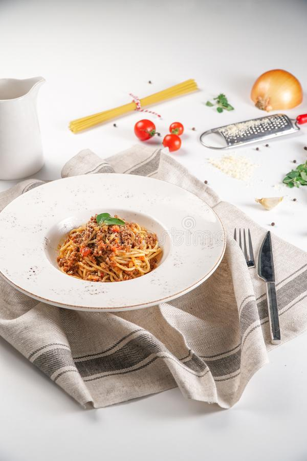 Spagetti Pasta with Bolognese. Sauce Served in a White Plate royalty free stock images