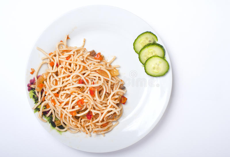 Download Spagetti With Vegetables On The White Plate Stock Image - Image: 22524089