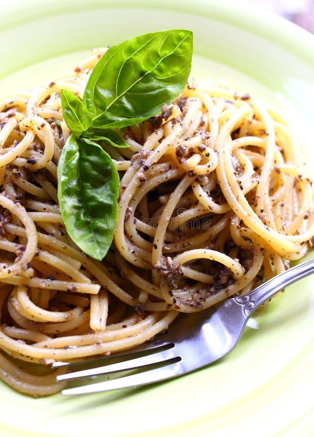 Spaghetti. Delicious spaghetti with mushroom sauce royalty free stock photos
