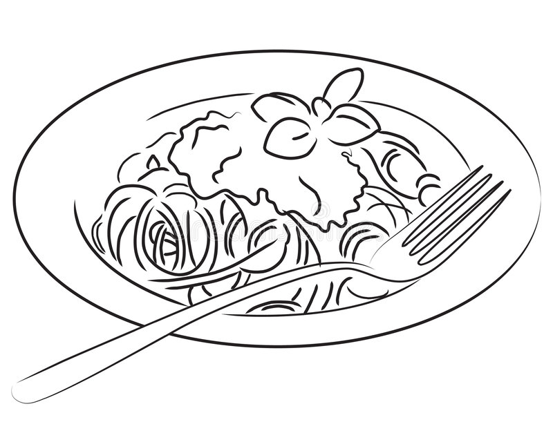 Spaghetti. Illustration of a plate of spaghetti in black and white. Also available in color version You can find other food illustrations in b/w in my portfolio royalty free illustration