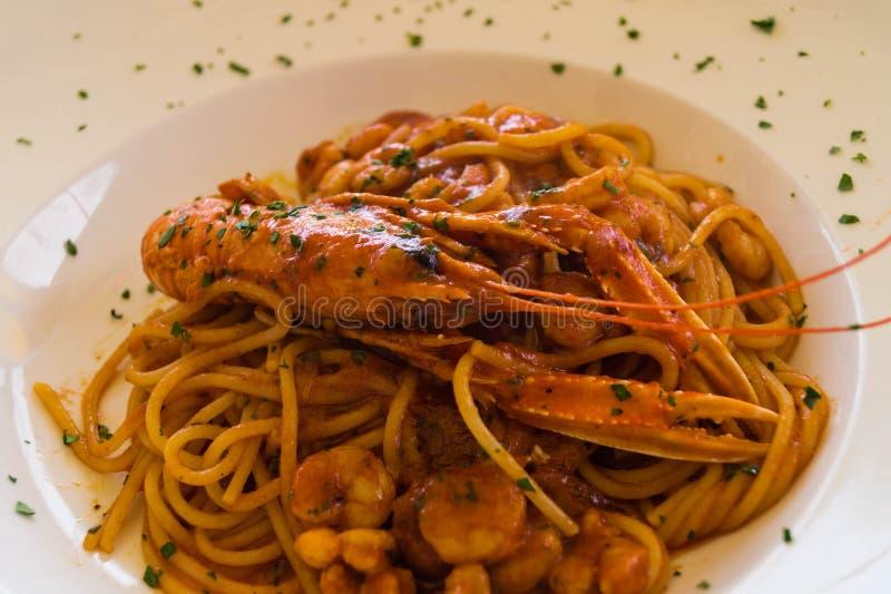 Spaghetti alla busara. An Italian specialty stock photo