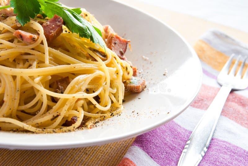 Spaghetti alla carbonara royalty free stock photos