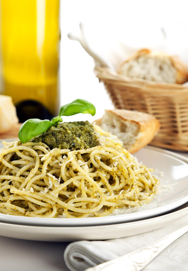 Download Spaghetti Alla Genovese Dish On Table Close Up Stock Image - Image of basil, spaghetti: 19042681