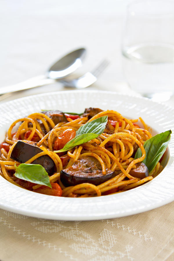 Download Spaghetti alla Norma stock image. Image of diet, salty - 28464133