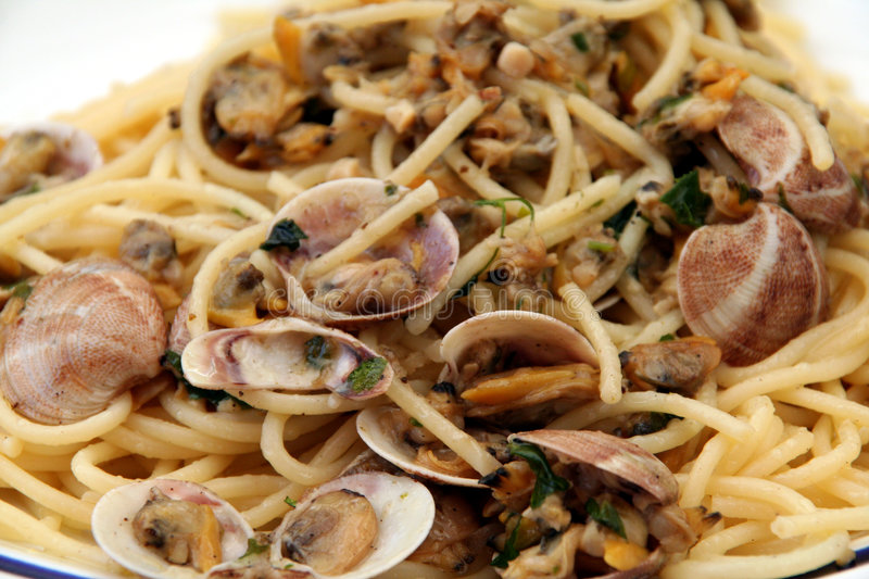 spaghetti alle vongole obrazy royalty free