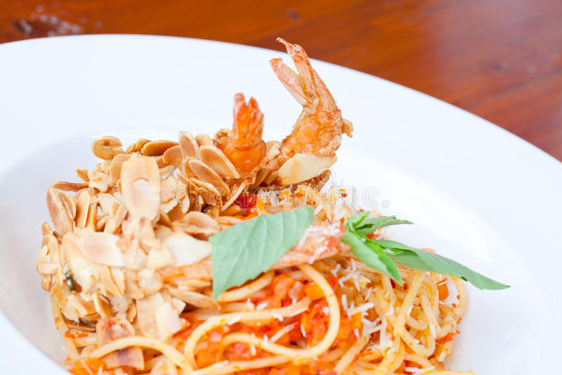 Spaghetti Almond shrimp stock image