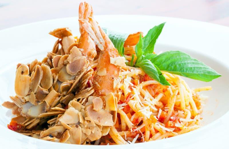 Spaghetti with Almond Shrimp stock photo