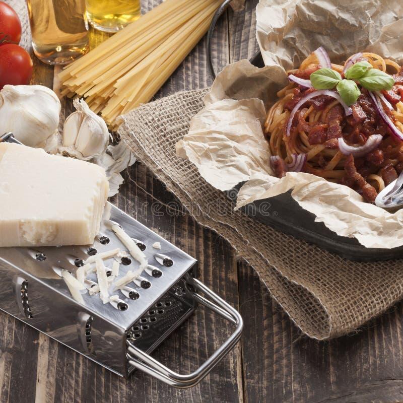 Spaghetti amatriciana italian basic food royalty free stock photography