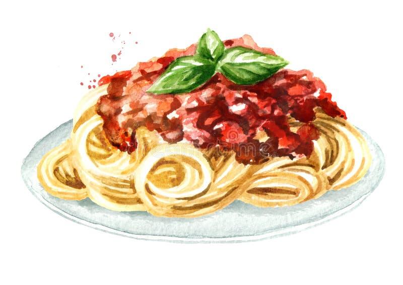 Spaghetti avec de la sauce Bolonais Illustration tirée par la main d'aquarelle d'isolement sur le fond blanc illustration de vecteur