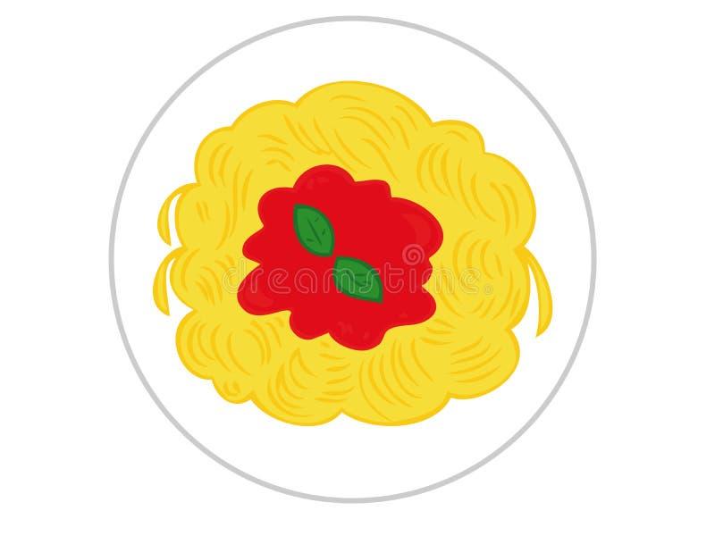 Spaghetti avec la sauce tomate. illustration stock