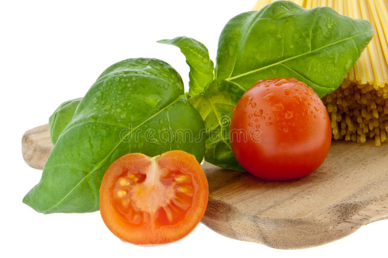 Download Spaghetti With Basil And Tomato Stock Photo - Image: 23468868