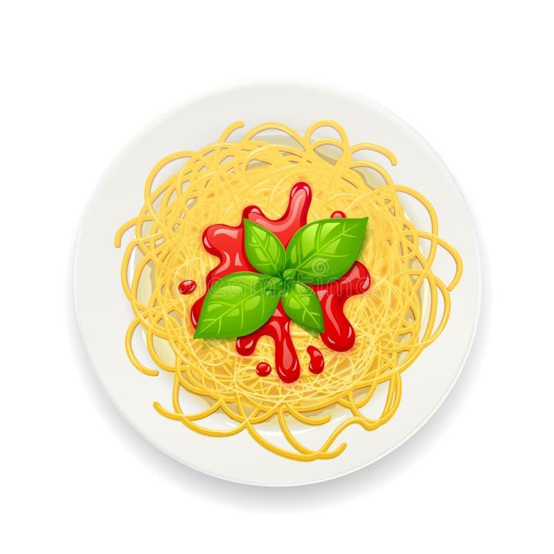 Spaghetti bij plaat Deegwaren met ketchup noedels Vector illustratie stock afbeeldingen