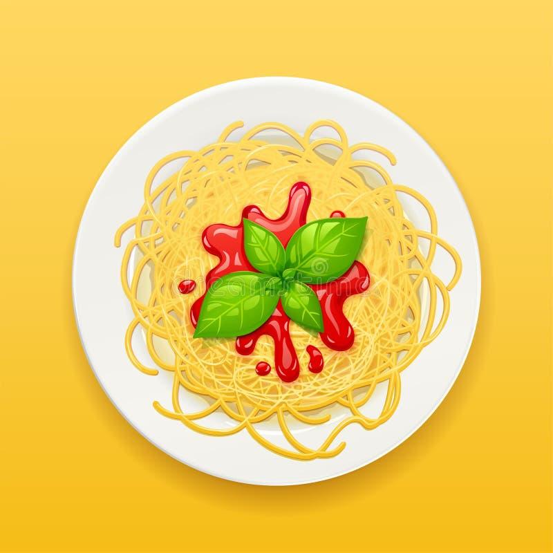 Spaghetti bij plaat Deegwaren met ketchup noedels Vector illustratie stock fotografie