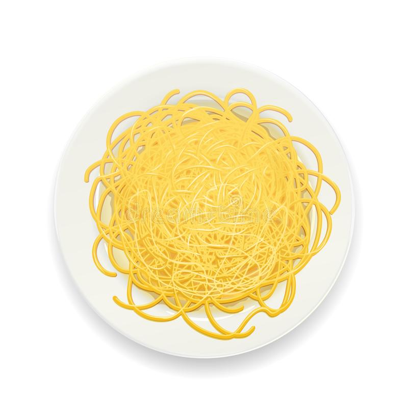 Spaghetti bij plaat Deegwaren noedels Vector illustratie royalty-vrije stock foto's