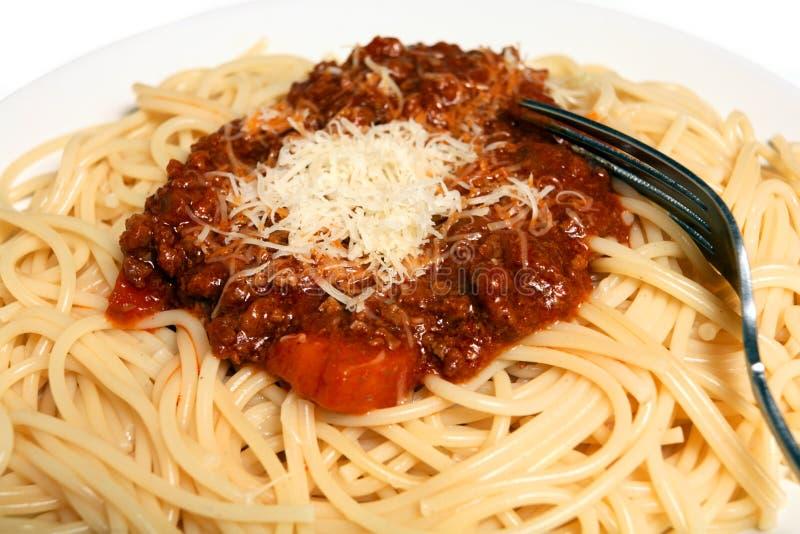 Spaghetti bolognaise macro horizontal royalty free stock photo