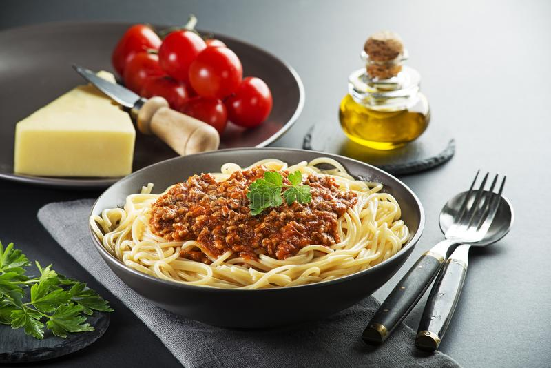 Spaghetti bolognese meal stock photography