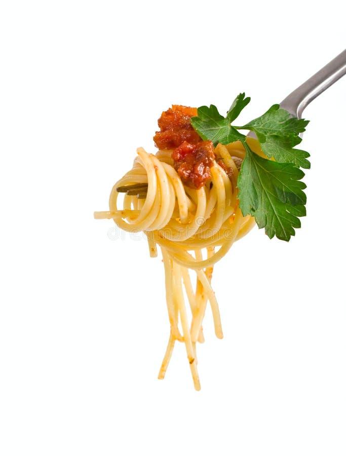 Spaghetti bolognese op een vork stock afbeelding