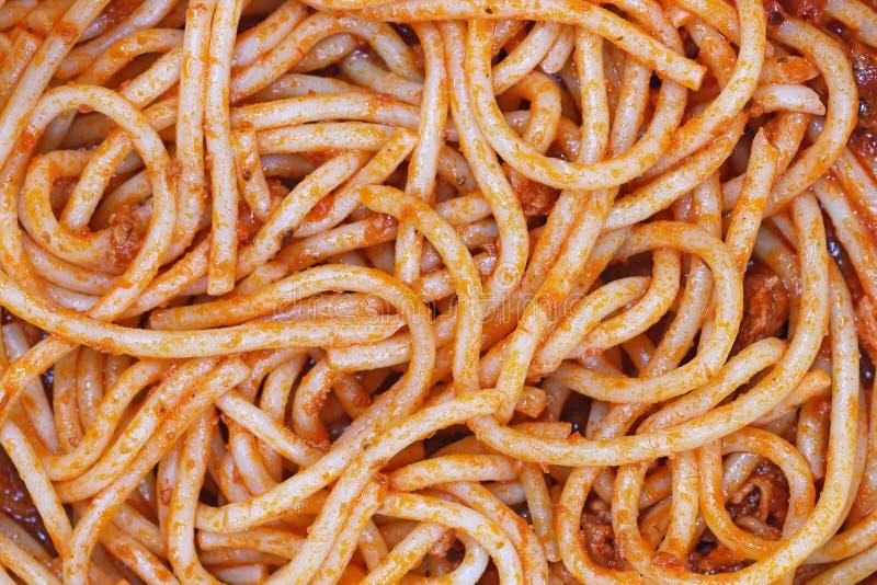 spaghetti Bolognese per il modello ed il fondo fotografie stock libere da diritti
