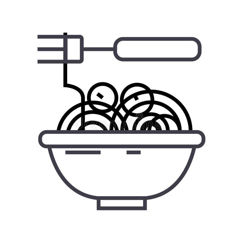 Spaghetti Bolognese z klopsika wektoru linii ikoną, znak, ilustracja na tle, editable uderzenia ilustracji