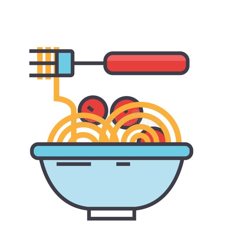 Spaghetti Bolonais avec des boules de viande, concept italien de restaurant illustration stock