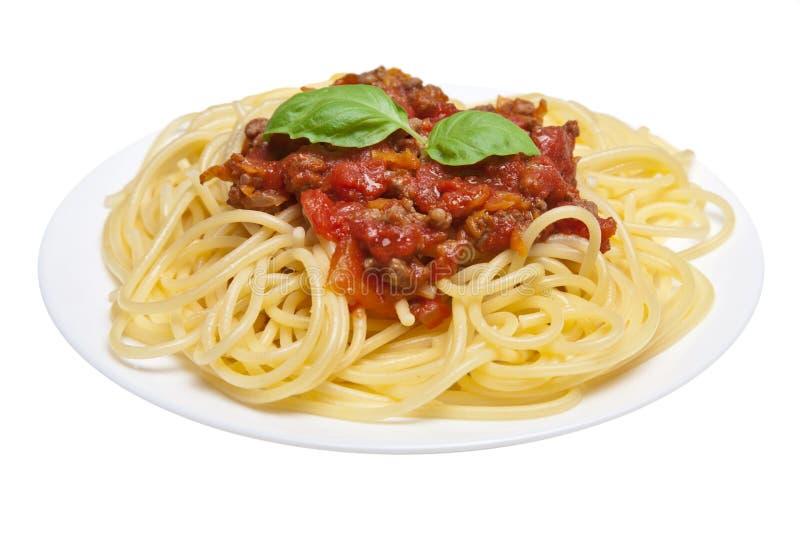 Spaghetti Bolonais d'isolement photographie stock