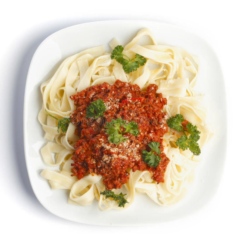 Spaghetti Bolonais du plat blanc photographie stock libre de droits