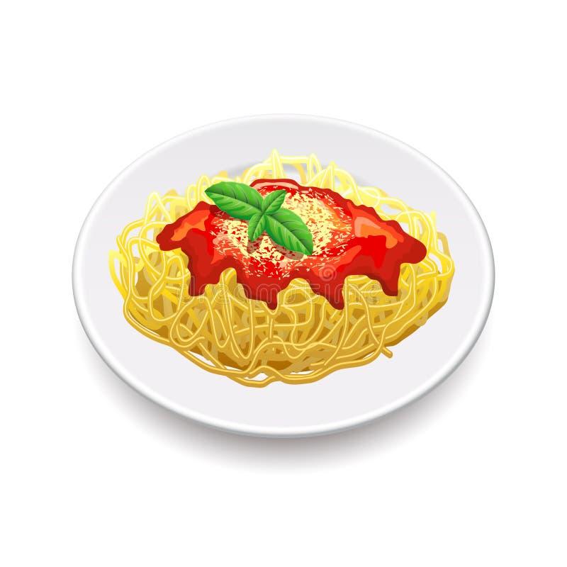 Spaghetti Bolonais sur le vecteur blanc illustration de vecteur