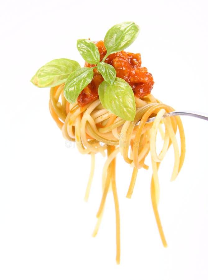 Spaghetti Bolonais sur une fourchette images stock
