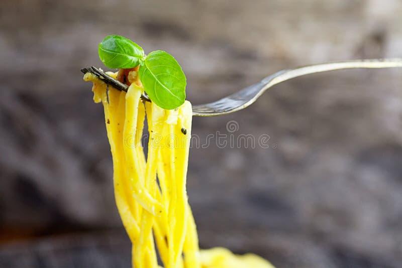 Spaghetti Carbonara stock afbeelding