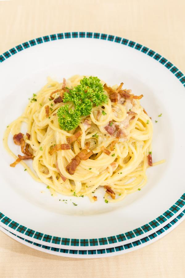 Spaghetti carbonara royalty free stock photography