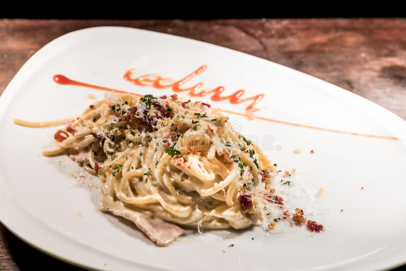 Spaghetti carbonara stock images