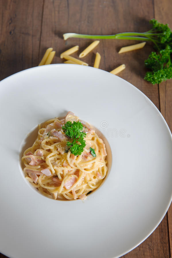 Spaghetti carbonara on the plate. Spaghetti concept stock photography