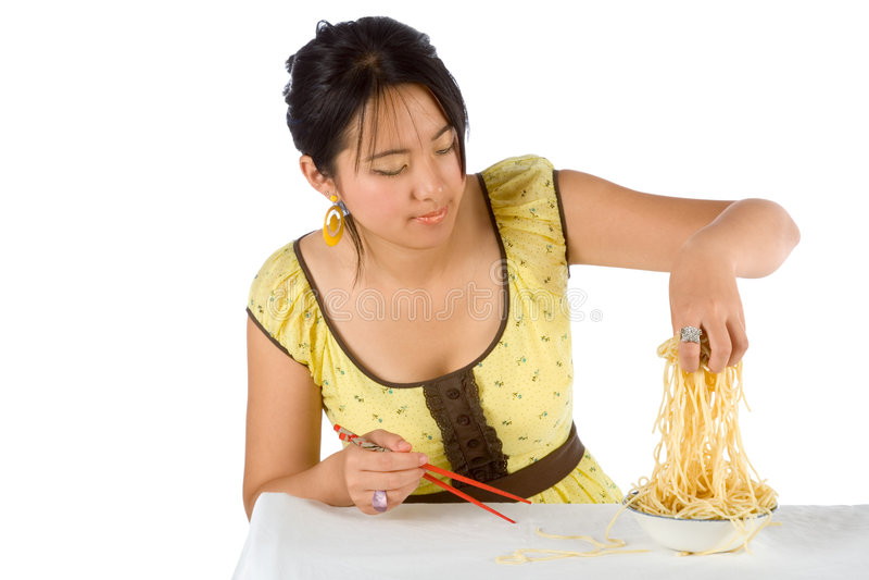 Spaghetti And Chopsticks Stock Photography