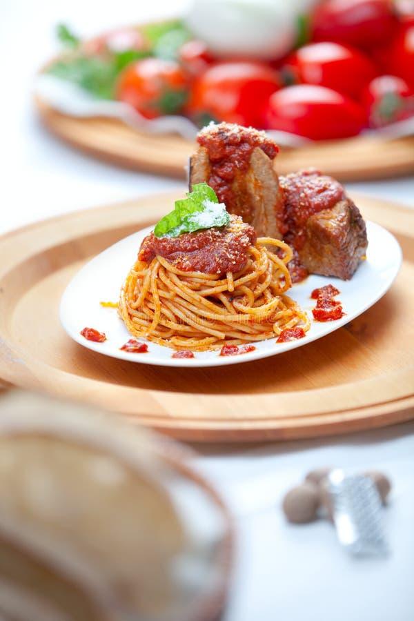Spaghetti Con La Salsa Di Neaplolitan Ragu Fotografie Stock