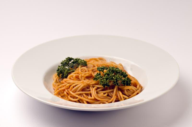 Spaghetti con la salsa di pomodori fotografia stock