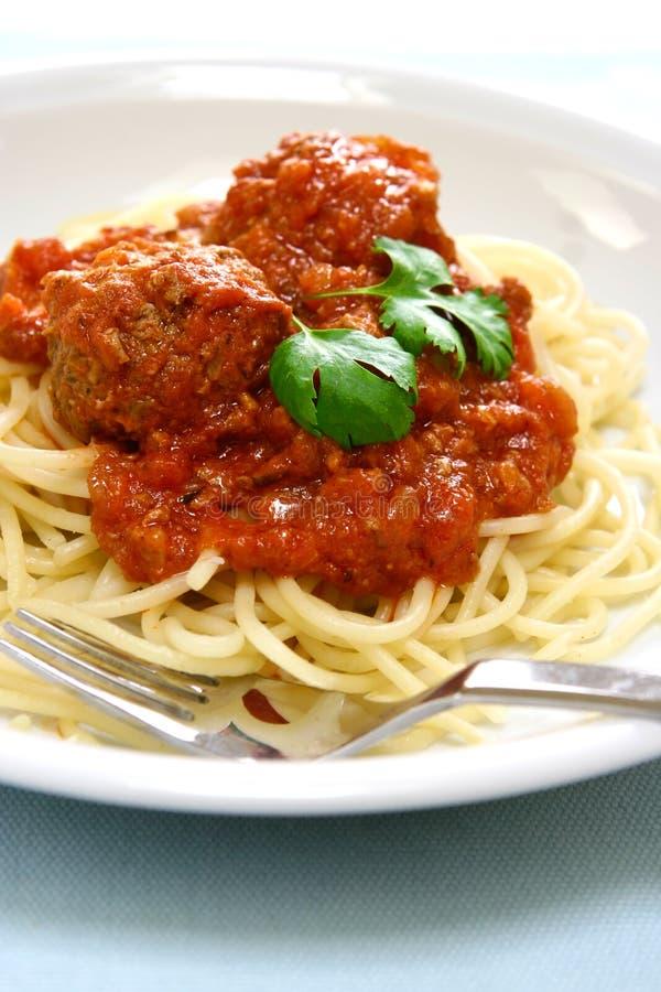 Spaghetti con la sfera di carne fotografie stock libere da diritti