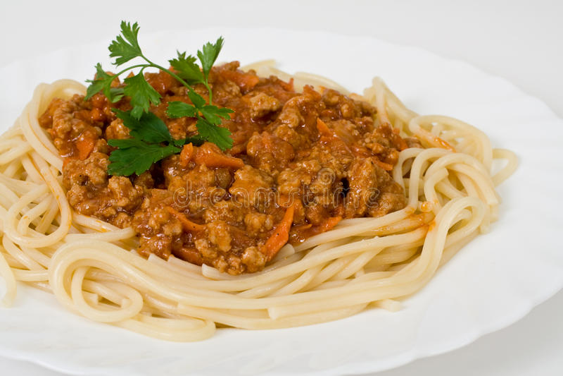 Spaghetti con le carni fotografie stock libere da diritti