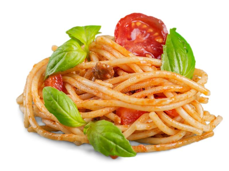 Download Spaghetti Con Salsa Al Pomodoro E Spruzzati Con Fotografia Stock - Immagine di erba, verde: 117981614