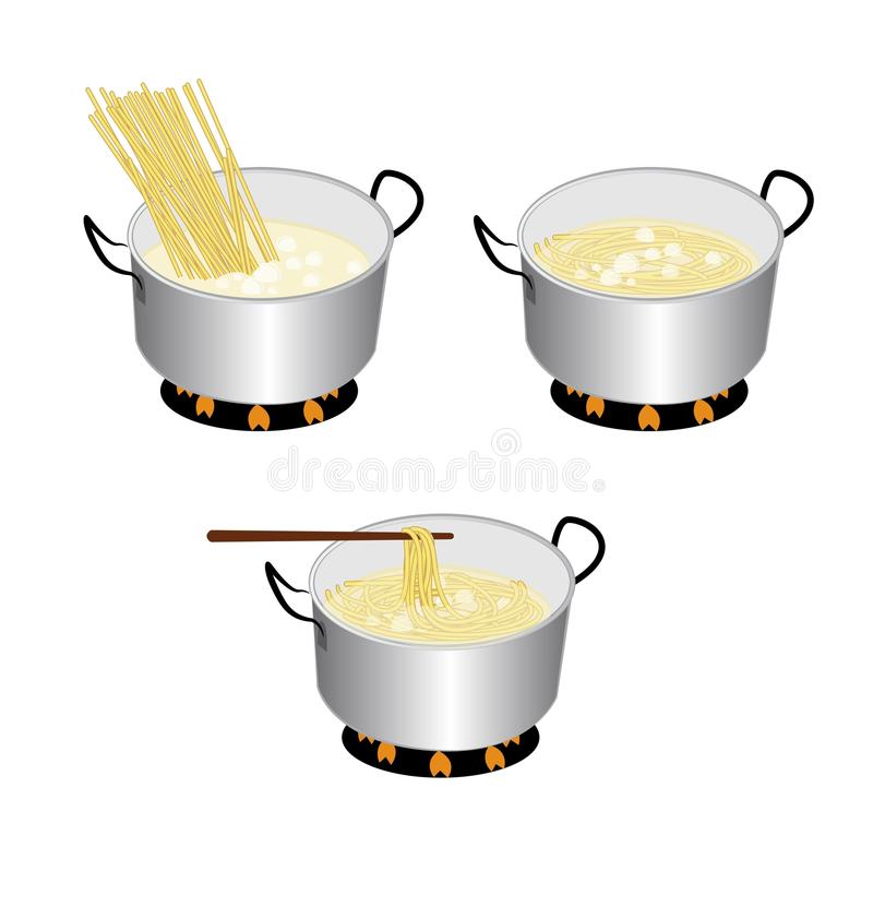 Spaghetti. Cooker on white background vector illustration