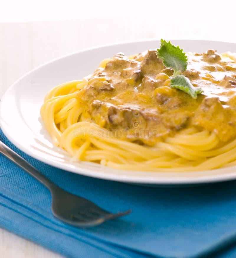 Spaghetti With Cream Sauce Royalty Free Stock Image