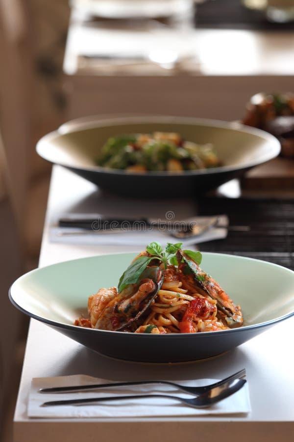Spaghetti de fruits de mer photos stock