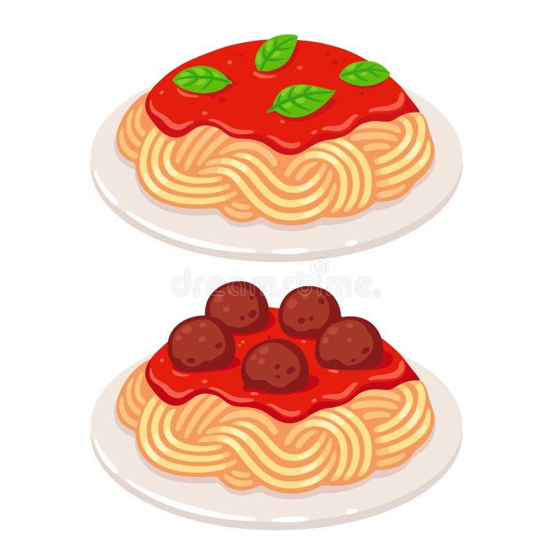Spaghetti de sauce tomate illustration de vecteur
